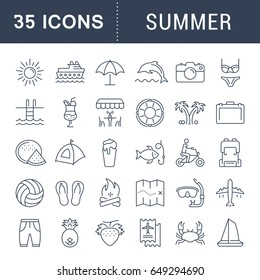 Set vector line icons, sign and symbols in flat design summer with elements for mobile concepts and web apps. Collection modern infographic logo and pictogram.