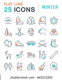 Set vector line icons, sign and symbols in flat design winter with elements for mobile concepts and web apps. Collection modern infographic logo and pictogram.
