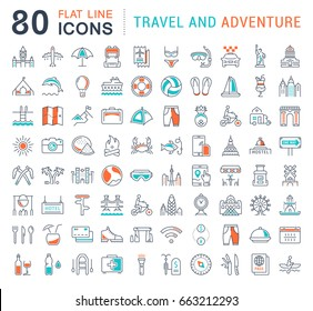 Set vector line icons, sign and symbols in flat design travel and adventure with elements for mobile concepts and web apps. Collection modern infographic logo and pictogram.