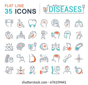 Set vector line icons, sign and symbols in flat design diseases with elements for mobile concepts and web apps. Collection modern infographic logo and pictogram.