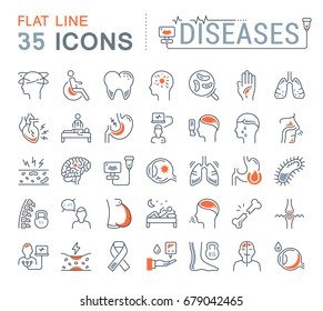 Set vector line icons, sign and symbols in flat design of diseases and ill with elements for mobile concepts and web apps. Collection modern infographic logo and pictogram.