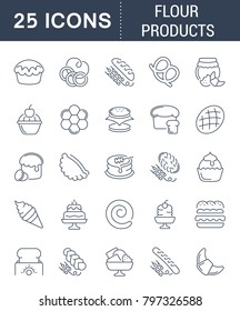 Set of vector line icons, sign and symbols of flour products for modern concepts, web and apps. Collection of infographics elements, logos and pictograms.