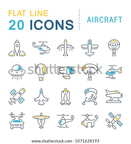 Set of vector line icons, sign and symbols with flat elements of aircraft for modern concepts, web and apps. Collection of infographics logos and pictograms.
