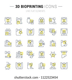 Set of vector line icons and signs with yellow squares of 3d bioprinting for excellent concepts. Collection of infographics logos and pictograms.