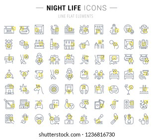 Set of vector line icons and signs with yellow squares of night life for excellent concepts. Collection of infographics logos and pictograms.