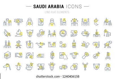 Set of vector line icons and signs with yellow squares of Saudi Arabia for excellent concepts.