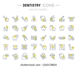 Set of vector line icons and signs with yellow squares of dentistry for excellent concepts. Collection of infographics logos and pictograms.