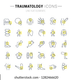 Set of vector line icons and signs with yellow squares of traumatology for excellent concepts. Collection of infographics logos and pictograms.