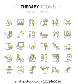 Set of vector line icons and signs with yellow squares of therapy for excellent concepts. Collection of infographics logos and pictograms.