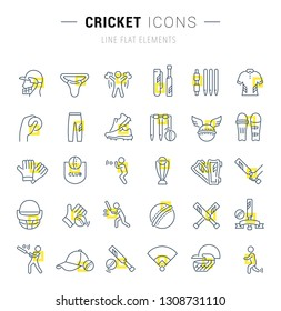 Set of vector line icons and signs with yellow squares of cricket for excellent concepts. Collection of infographics logos and pictograms.