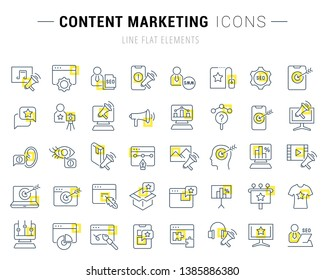Set of vector line icons and signs with yellow squares of content marketing for excellent concepts. Collection of infographics logos and pictograms.