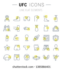 Set of vector line icons and signs with yellow squares of ufc for excellent concepts. Collection of infographics logos and pictograms.