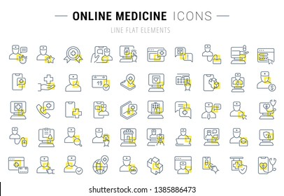 Set of vector line icons and signs with yellow squares of online medicine for excellent concepts. Collection of infographics logos and pictograms.