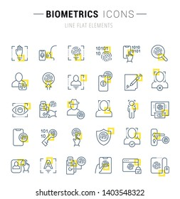 Set of vector line icons and signs with yellow squares of biometrics for excellent concepts.