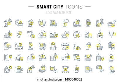 Set of vector line icons and signs with yellow squares of smart city for excellent concepts. Collection of infographics logos and pictograms.