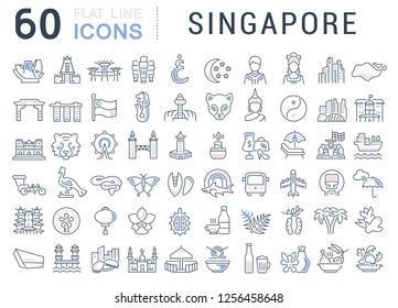 Set of vector line icons of Singapore for modern concepts, web and apps.