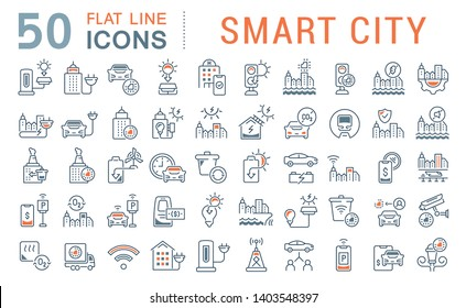 Set of vector line icons of smart city for modern concepts, web and apps.