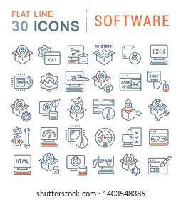 Set of vector line icons of software for modern concepts, web and apps.