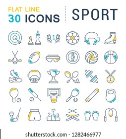 Set of vector line icons of sport for modern concepts, web and apps.