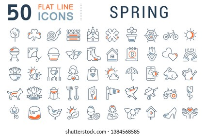 Set of vector line icons of spring for modern concepts, web and apps.