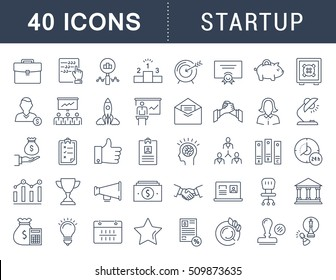 Set vector line icons startup and business in flat design with elements for mobile concepts and web apps. Collection modern infographic logo and pictogram.