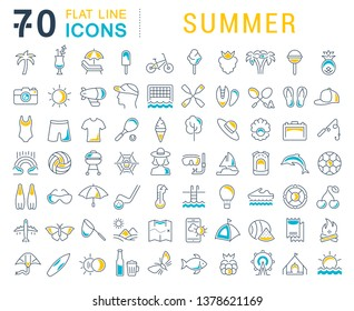 Set of vector line icons of summer for modern concepts, web and apps.