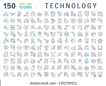 Set of vector line icons of technology for modern concepts, web and apps.