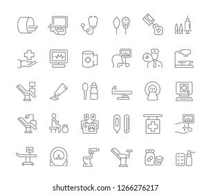 Set of vector line icons of therapy for modern concepts, web and apps.