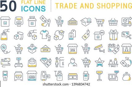 Set von Vektorlinien-Icons von Handel und Shopping für moderne Konzepte, Web und Apps.
