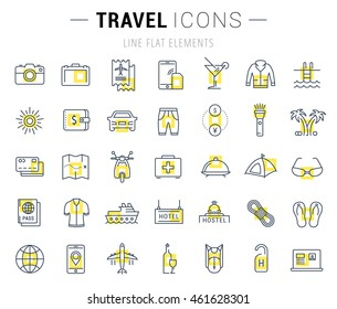 Set vector line icons  travel, hotel service, resort vacation, tour planning, recreational rest, holiday trip with open path mobile design and development with elements for mobile concepts and web app