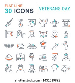 Set of vector line icons of veterans day for modern concepts, web and apps.