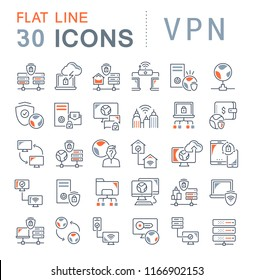 Set of vector line icons of vpn for modern concepts, web and apps.