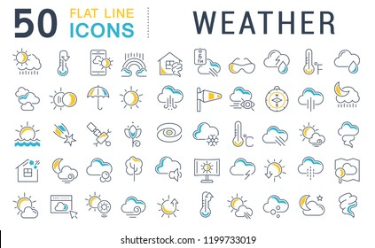 Set of vector line icons of weather for modern concepts, web and apps.
