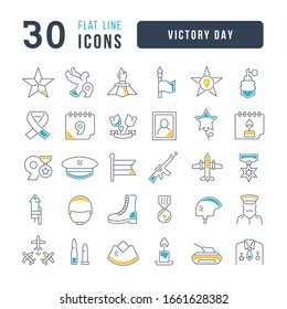 Set vector line thin icons of victory day in linear design for mobile concepts and web apps. Collection modern infographic pictogram and signs.