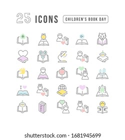 Set vector line thin icons of childrens book day in linear design for mobile concepts and web apps. Collection modern infographic pictogram and signs.