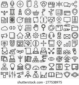 Set of vector linear media service icons. 100 icons for design - vector icons