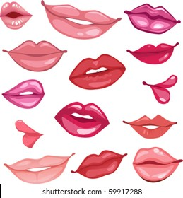 set of vector lips