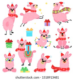 Set of vector llamas in Christmas red hat. Collection of alpaca greeting card in hand drawn style. Concept for invitation, poster, print, banner. Merry Christmas and happy new year.