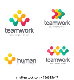 Set of vector logo design for social media, teamwork