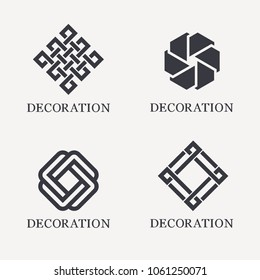 Set of vector logo design template. Black monogram. Decoration