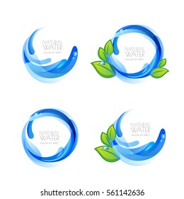 Set of vector logo, icon design elements with natural clean water drops and green leaves. Abstract blue water splash frame. Mineral aqua label. Waterdrops and liquid background.