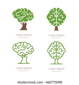 Set of vector logo, icon, emblem design with brain tree. Think green, eco, save earth and environmental concept. Flat outline brain tree isolated illustration.