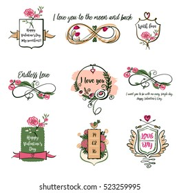 Set vector logo isolated on white background for greeting card, poster wedding agency, salon, reception. Image with floral, text I love you for happy valentine day, save date wedding invitation.