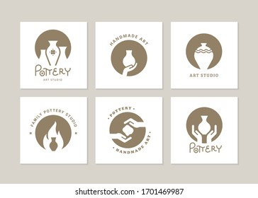 Set of vector logo layouts for art studio, pottery or ceramic studio.