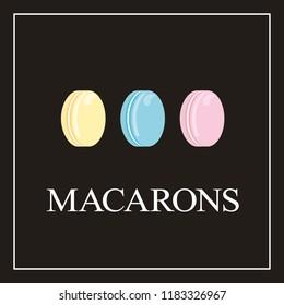 Set of vector logo macaron for bakery or confection shop, boutique, store