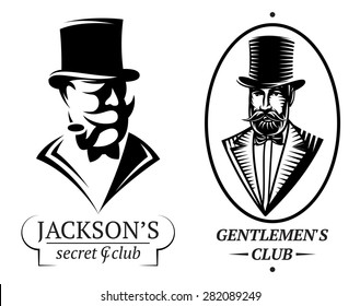 set of vector logo templates for gentlemen's club
