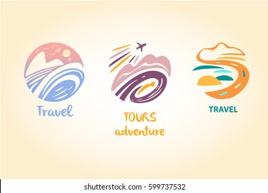 Set vector logo travel company. Tourist trip. The aircraft in the sky, landscape. Hand-drawn logo in a circle.