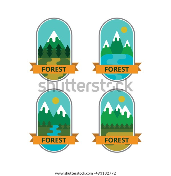 Set of vector logos and badges, outdoor activities. Collection of emblems and symbols of travel and mountain