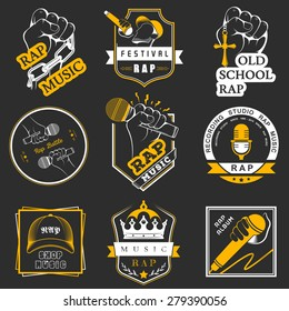 Set of vector logos, badges and stickers Hip Hop and Rap music. Collection of emblems battle, club and festival.