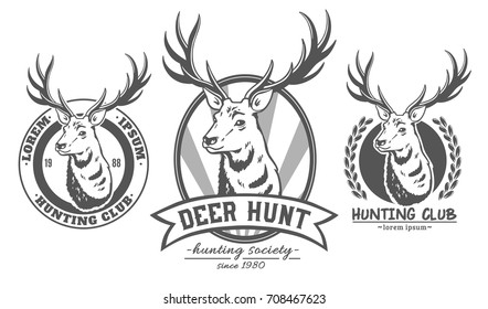 Set of vector logos. Deer.
